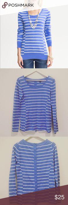 Banana Republic Sweater Banana Republic striped sweater with a button up back. Color is Bella Blue. Excellent condition. Size small. Banana Republic Sweaters Crew & Scoop Necks