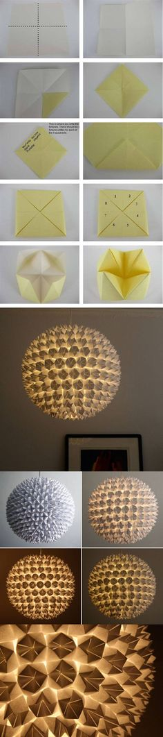 lampara origami papel DIY ingenioso                                                                                                                                                                                 Más