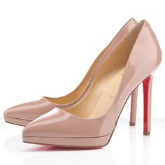 Christian Louboutin Pigalle Plato 120mm Patent Leather Pumps Nude Red Sole Shoes Fr Sale French