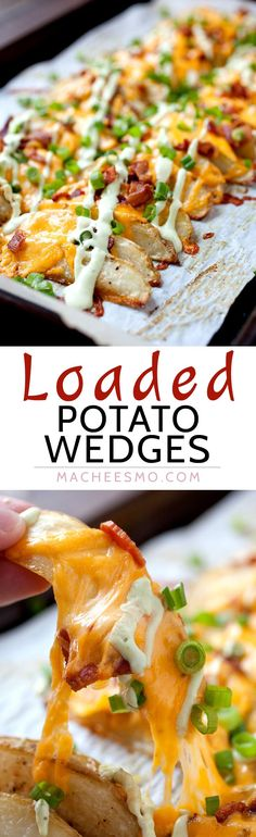 Loaded Potato Wedges - Appetizer? Side dish? Main meal? These completely loaded baked potato wedges have can be anything you want. Cheddar, chives, and an avocado sour cream sauce. Potato perfection! | macheesmo.com                                                                                                                                                                                 More