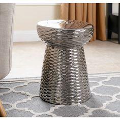 Abbyson Living Madison Silver Chrome Ceramic Garden Stool