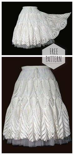 New crochet free pattern sweater tricot Ideas Skirt Pattern Free, Crochet Skirt Pattern, Bag Crochet, Mode Crochet, Crochet Lace Edging, Crochet Skirts, Crochet Lace Dress, Crochet Gloves, Crochet Woman
