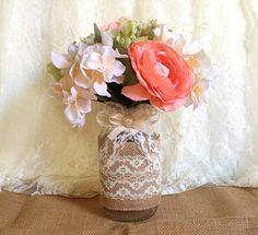 burlap and lace covered mason jar vases wedding di PinKyJubb