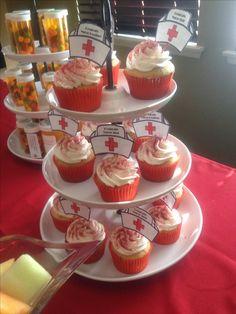 Nursing graduation party. Nursing cupcakes. (nursing graduation party foods)