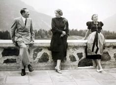 """Hitler with Eva Braun and Hannelore Morell, wife of """"Dr."""" Theodor Morell at the Berghof"""