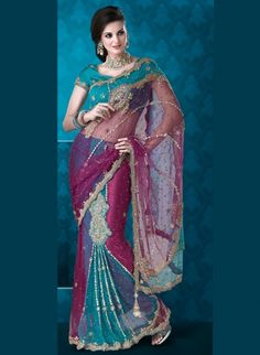 Blue And Purple Faux Georgette Lehenga Saree