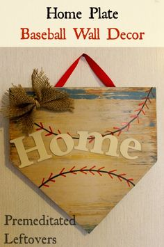 DIY Home Plate Wall Hanging - Does your little boy(girl) love baseball(softball)? Use this tutorial to make a home plate wall hanging to decorate his(her) room. Home Plate Baseball, Baseball Wall Decor, Plate Wall Decor, Plates On Wall, Mobiles, Wood Crafts, Diy And Crafts, Just In Case, Just For You