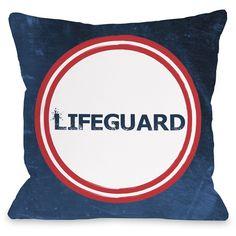 """Lifeguard"""" Outdoor Throw Pillow by OneBellaCasa, 16""""x16"""
