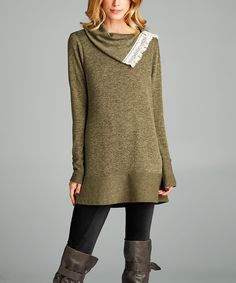 Look at this Love, Kuza Olive Triangle Cowl Neck Tunic on #zulily today!