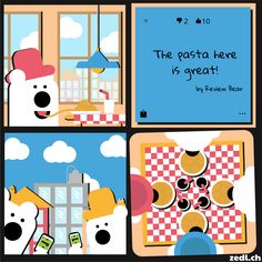 Zedl Strips - Pasta. A web comic by Byrds & Bytes showing some of the usercases of the Zedl App. Zedl ist a mapbased, local & social network.