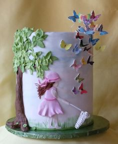 little girls, little girl birthday, butterflies, cake idea, butterfli cake, 3d cakes, young girls, sweet cakes, birthday cakes