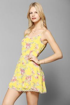Lucca Couture Lace-Trim Chiffon Slip Dress - Urban Outfitters