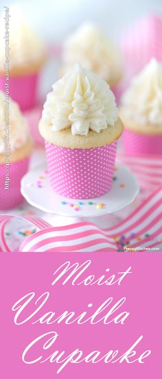 Easy, Moist Vanilla Cupcake Recipe from scratch! This moist vanilla cupcake reci… Easy, Moist Vanilla cupcake recipe from scratch! This moist vanilla cupcake recipe will blow you away! It is full of sweet vanilla flavor, but makes almost no effort! Easy Birthday Desserts, Köstliche Desserts, Delicious Desserts, Vanilla Desserts, Vanilla Cupcake Recipes, Birthday Cake, Moist Vanilla Cupcakes, Yummy Cupcakes, Gourmet Cupcakes