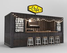 Container Cafe and Restaurant Terrace Restaurant, Restaurant Concept, Restaurant Design, Shipping Container Restaurant, Shipping Container Design, Shipping Containers, Container Coffee Shop, Container Shop, Container Home Designs