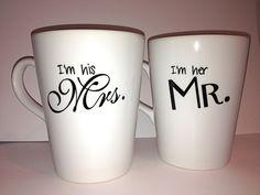 """Latte mug couple set of 2 Personalized mug set- """"I'm his Mrs."""" & """"I'm her Mr.""""mug set perfect couple gift wedding gift, housewarming Gift. $35.00, via Etsy."""