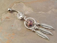 Purple Dream Catcher Belly Button Jewelry Beaded by MidnightsMojo, $20.00