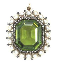 Antique Peridot, Diamond And Pearl Locket Pendant   c.1880's  Christie's