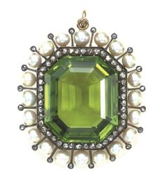 Antique Peridot, Diamond And Pearl Locket Pendant   c.1880's  Christie's