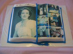 80th Birthday Photo Album cake. Gluten free spice cake with cream cheese icing.
