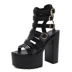 Gdgydh Open Toe Ladies Sandals Womens Block Chunky Heel Strappy Gladiator Cut Out Platform Wedges Shoes With Zipper Comfortable