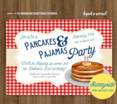 Boys Pancakes and Pajamas birthday party invitation, breakfast invite, blue and red pancake theme, boys birthday printable invitation , Pajama Birthday Parties, Birthday Dinners, Boy Birthday, Birthday Ideas, Third Birthday, Birthday Gifts, The Pancake House, Breakfast For A Crowd, Pancake