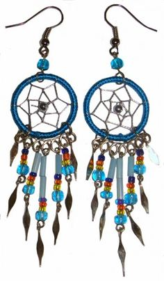 Ohrringe mit Dreamcatcher, mit Perlen und Metallsplitter - Traumfänger