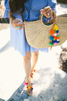 The Cutest Gingham Dress Pom Pom Sandals, Lace Up Sandals, Gladiator Sandals, The Sweetest Thing Blog, Pinterest Fashion, Pinterest Pinterest, Gingham Dress, Dress Codes, Diy Clothes