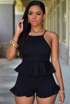 3b33723d5fe Black Blush Ruffle Textured Short Set MB60544-2 Ruffle Shorts