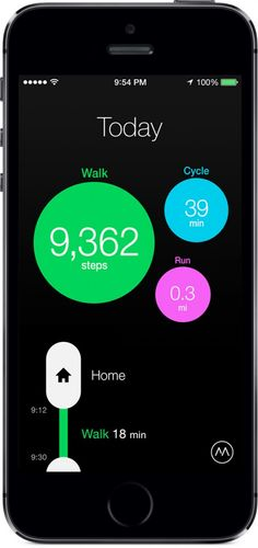 The Moves app - tracks walking, running and cycling without the need of a tracking device (your phone is the tracking device)