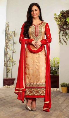 Define gorgeousness with this beige and red embroidered brasso churidar suit. The fantastic dress creates a dramatic canvas with extraordinary lace, patch and resham work. #LovelyCasualChuridarKameez