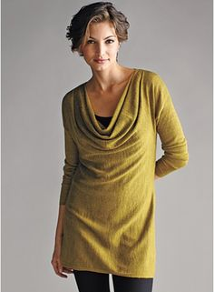 E. Fisher .... gorgeous lightweight knit ~ dress it up or dress it down.  You can find many cowl patterns on my board Stitching ~ Techniques and Tips........ adapt and simply lengthen a T pattern.  Elegant!