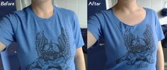 Altering the neckline of a t-shirt