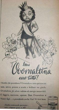 """www.piziarte.net La pubblicità negli anni 50 """"Ovomaltina."""" dalla rivista settimanale """"Il Tempo"""" 1954."""