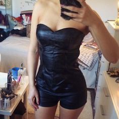 Black Faux Leather Corset Top!  Like brand new. Padded bra. Back zipper closure. Charlotte Russe Tops