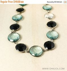 ON SALE Silver Aqua Quartz and Black Onyx Statement Necklace - Long Bib Necklace