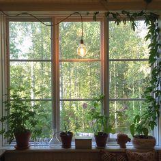 horizontal slats in the big windows Swedish House, Big Windows, Modern Kitchen Design, Plant Decor, Cozy House, My Dream Home, Indoor Plants, Interior Inspiration, Lights
