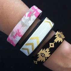 NEW PRINT!! Fitbit Flex, Fitbit Charge, ChargeHR Elastic Bands, Set/3: Pink Camo (CA04), White/Gold Arrows (AR02), Black Aztec (AZ05) by BananaWindDesign on Etsy