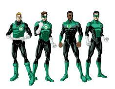 Sector 2814 Lanterns (from left to right) Guy Gardner, Hal Jordan, John Stewart, and Kyle Rayner.