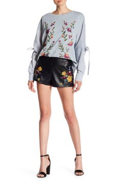 A.Calin Embroidered Faux Leather Shorts