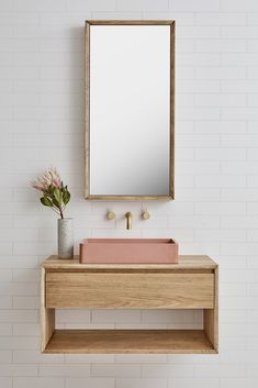 The Baxter Single basin vanity (Loughlin Furniture). Pink concrete basin. #BathroomDesigns