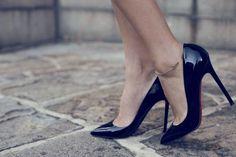 Christian Louboutin Heels- my dream pair of heels! Black Patent Shoes, Patent Leather Pumps, Black Heels, Blue Shoes, Pumps Heels, Stiletto Heels, Prom Heels, Sexy High Heels, Classy Heels