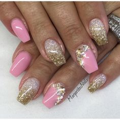 Pink Nailz with White and Gold Glitter Bling