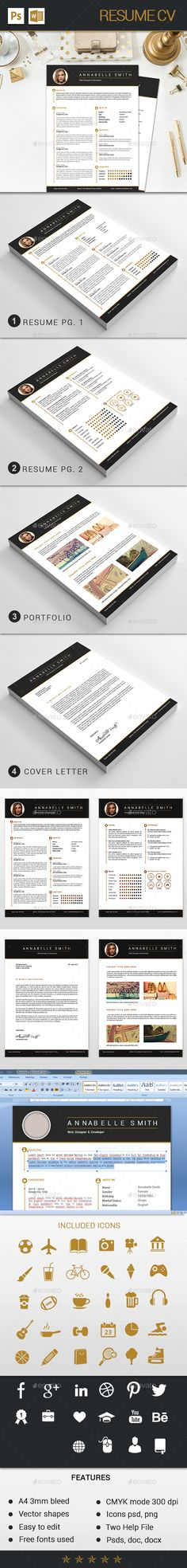 Resume Template / CV Template Cover Letter for by OddBitsStudio - resume formats free download word format
