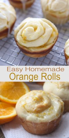 These warm and fluffy Homemade Orange Rolls are superior to all the others! Theyre made with sweet orange filling and baked in a muffin tin for a slightly crisp outside and extra soft center. Muffin Tin Recipes, Donut Recipes, Baking Recipes, Cookie Recipes, Dessert Recipes, Muffin Tins, Orange Sweet Rolls, Orange Cookies, Orange Muffins