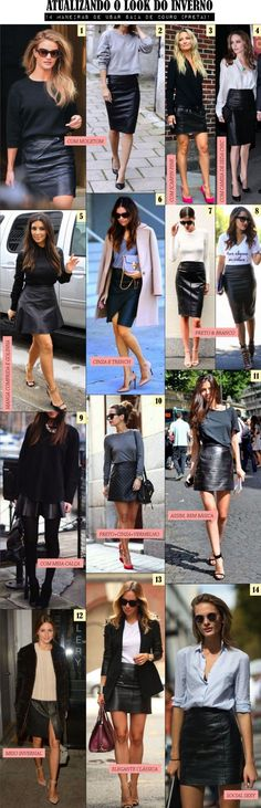 Black Leather Skirts in 22 ways Basic Fashion, Work Fashion, Fashion Looks, Petite Fashion, Curvy Fashion, Style Fashion, Mode Outfits, Fall Outfits, Fashion Outfits