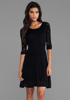 Catherine Malandrino Favorites 3/4 Sleeve Mixed Pointelle Dress in Noir