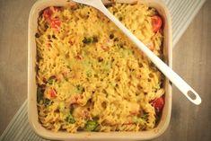 Pasta ovenschotel met kruidenroomkaas, ham en broccoli