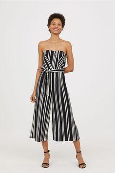 bb404645d170 Bandeau Jumpsuit - Black white striped - Ladies