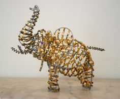 BEAD and WIRE ARTWORK    Golden Elephant from Africa  by stribal, $32.99