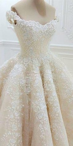 Boatneck Wedding Dress - With gorgeous floral lace details!